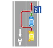 Выезд в нарушение требований, предписанных дорожными знаками и (или) разметкой проезжей части дороги, на полосу для маршрутных транспортных средств, предназначенную для встречного движения.